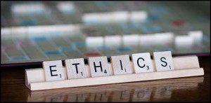 Ethics spelled out in scrabble letters